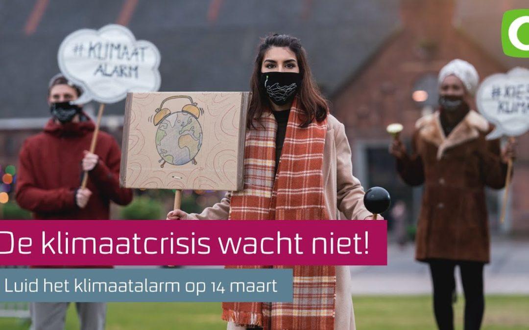 Klimaatalarm 14 maart op Stationsplein Delft